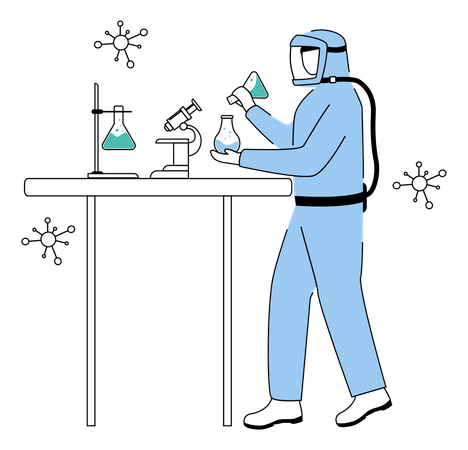 Chemistry experiment by scientist using protective suit Illustration