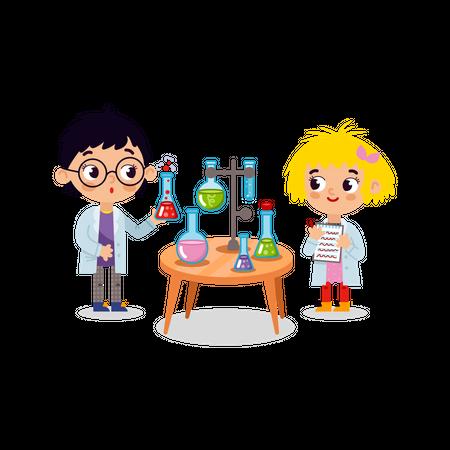 Chemistry laboratory. Little children scientists Illustration