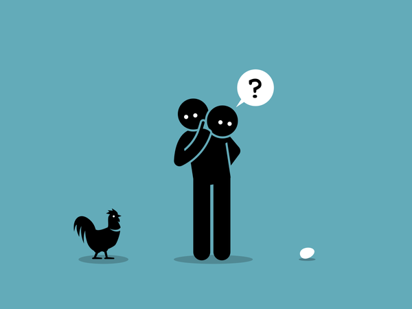 Chicken or Egg Who come first argument Illustration