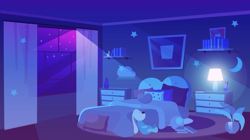Child bedroom night time Illustration
