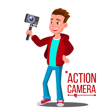 Child Boy With Action Camera Vector Illustration
