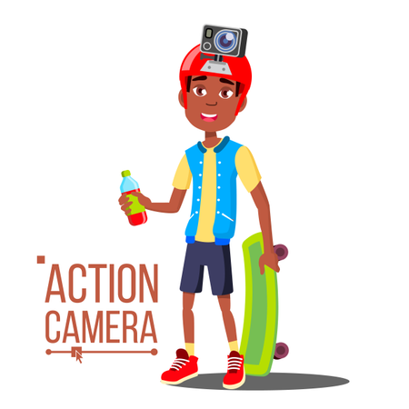 Child Boy With Action Camera Vector. Afro American Teenager. Red Helmet. Shooting Process. Active Type Of Rest. Isolated Cartoon Illustration Illustration