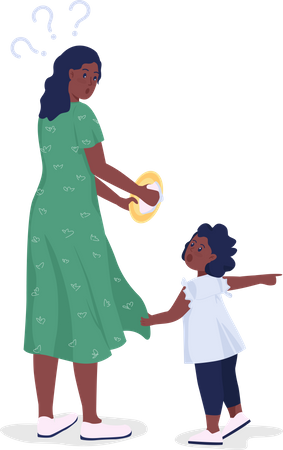 Child calling mother for toy Illustration