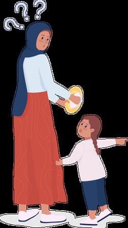 Child demanding mom Illustration