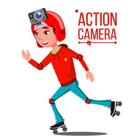 Child Girl With Action Camera Vector Illustration