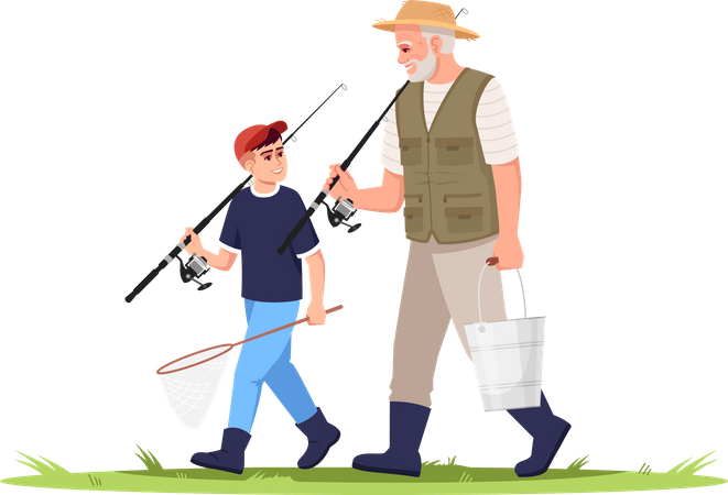 Child going for Fishing with Grandfather Illustration
