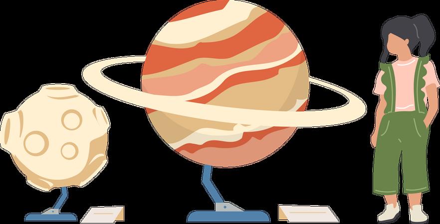Child in planetarium Illustration