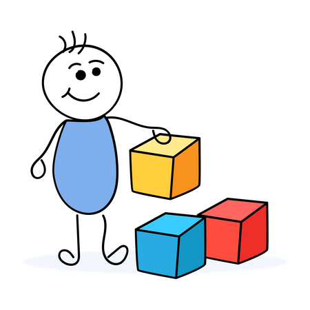 Child playing with colorful cubes Illustration