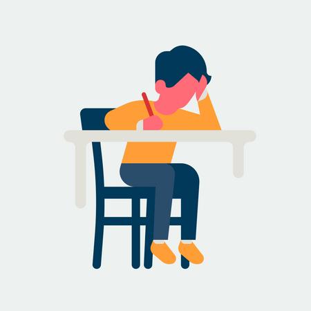 Child Writing setting on study desk Illustration