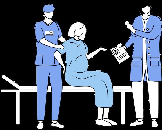 Childbirth at hospital Illustration