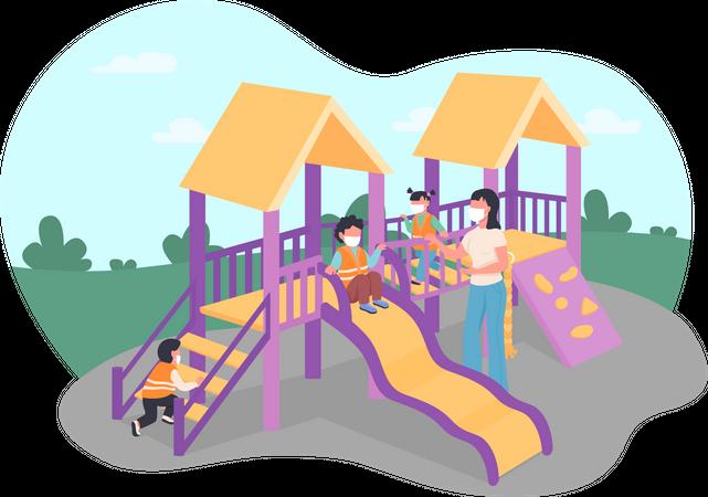 Children and teacher in medical masks on playground Illustration