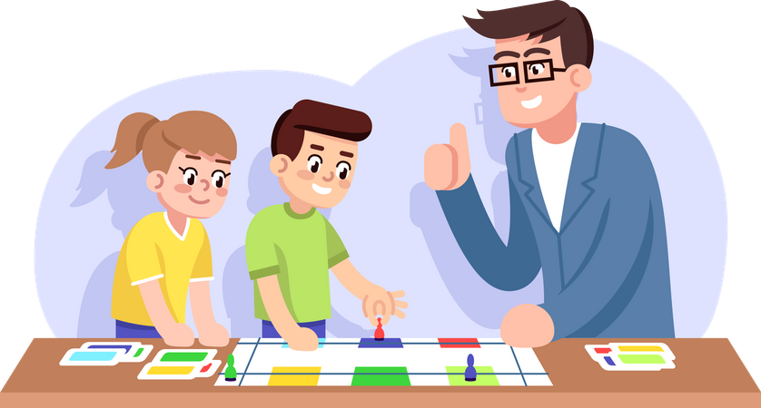 Children and teacher play educational board game Illustration