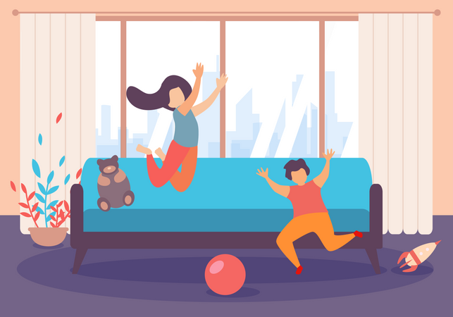 Children Boy and Girl Jumping and Play Inside Living Room Illustration