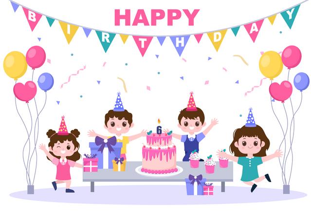Children celebrating birthday Illustration