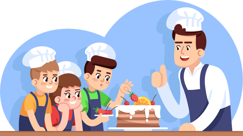 Children cooking class Illustration