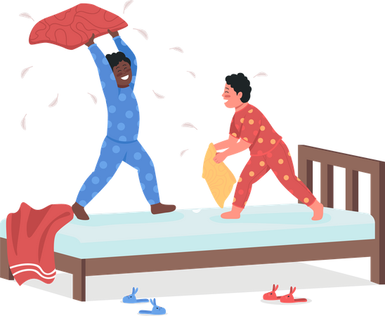 Children fighting with pillow Illustration
