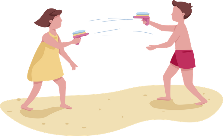 Children fighting with water guns Illustration