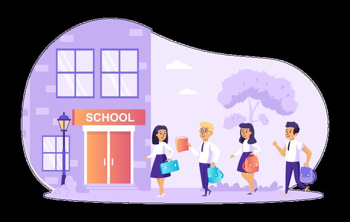 Children go to school Illustration