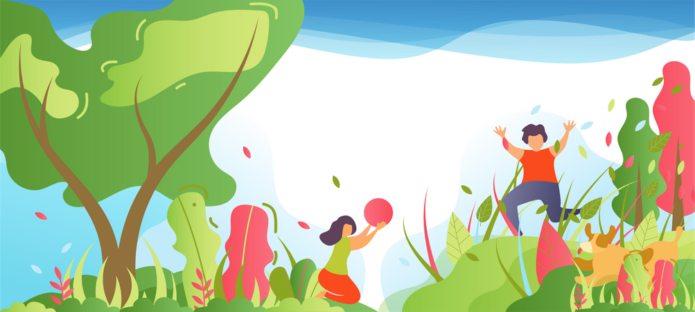 Children Having Fun in Park or Forest Illustration