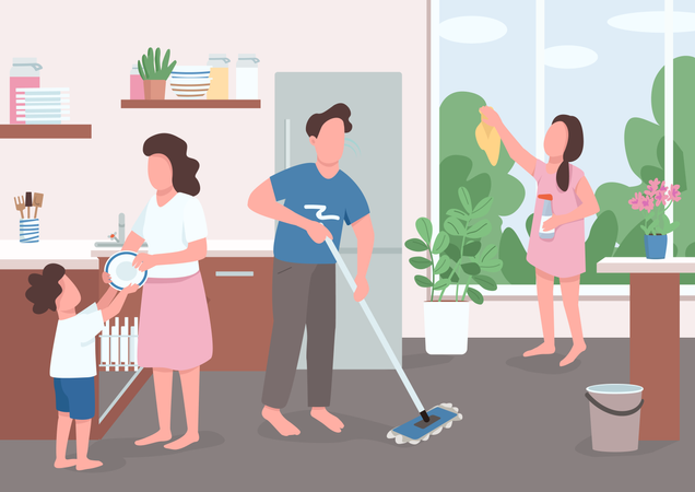 Children help parents with home chores Illustration