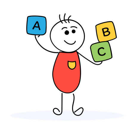 Children holding English alphabets cubes Illustration