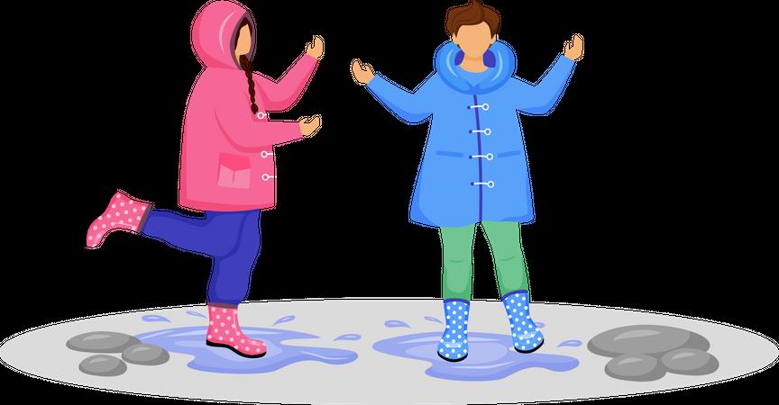 Children in raincoats Illustration