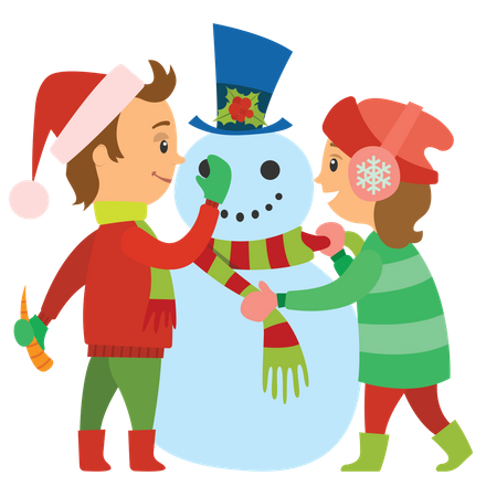 Children making snowman Illustration