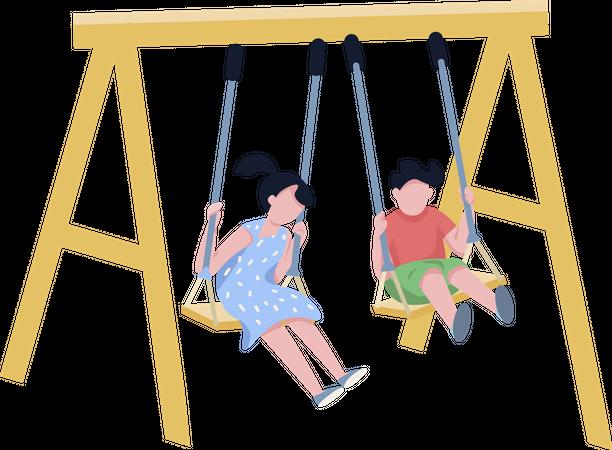Children on chain swing Illustration
