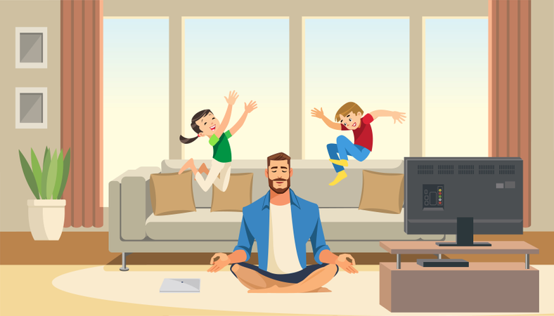 Children play and jump on sofa behind working business father Illustration