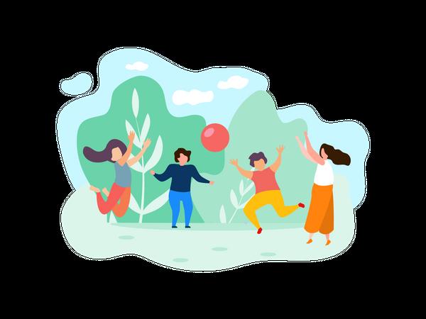 Children Playing Ball at park Illustration