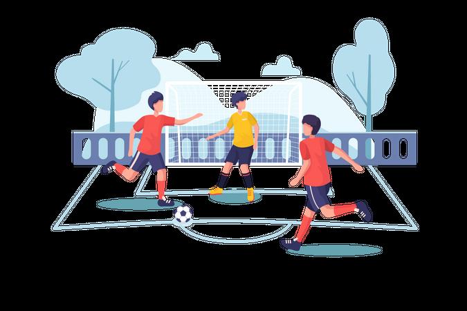 Children playing football at park Illustration
