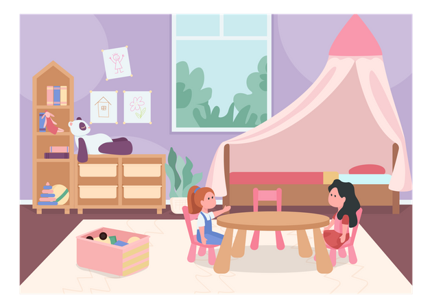 Children playing in child bedroom Illustration