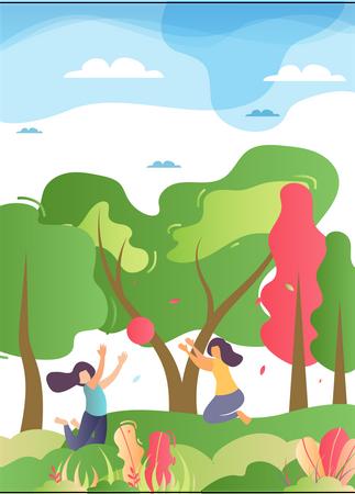 Children Playing in garden Illustration