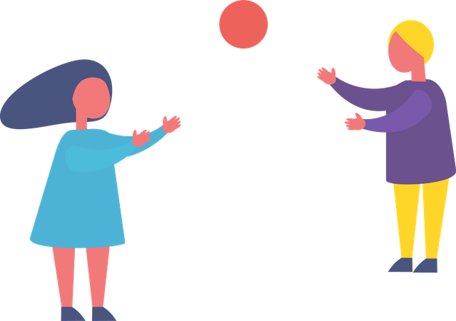 Children Playing with Ball Illustration