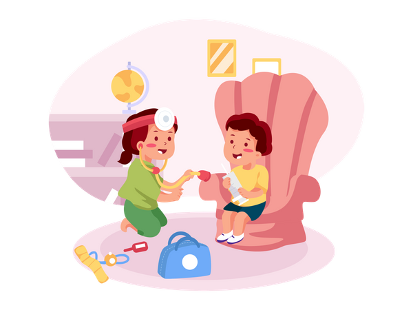 Children playing with doctor's kit Illustration
