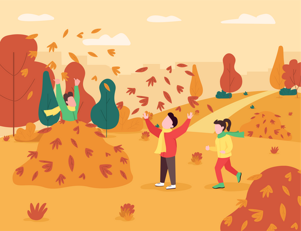Children playing with leaves in the park Illustration