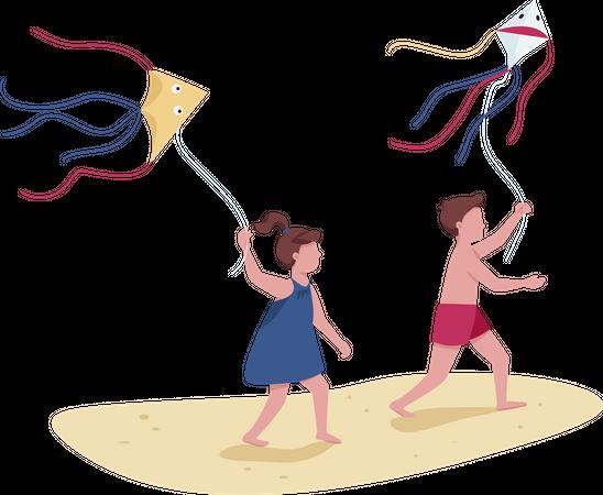 Children running with flying kites Illustration