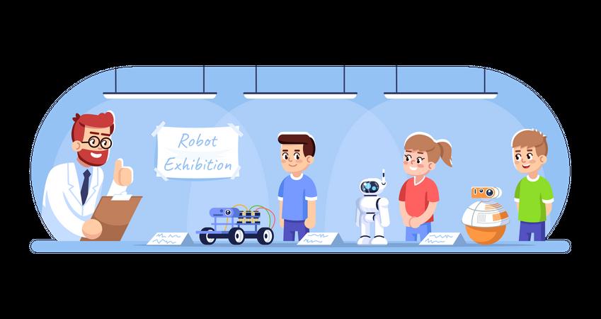 Children showing their robots on exhibition Illustration
