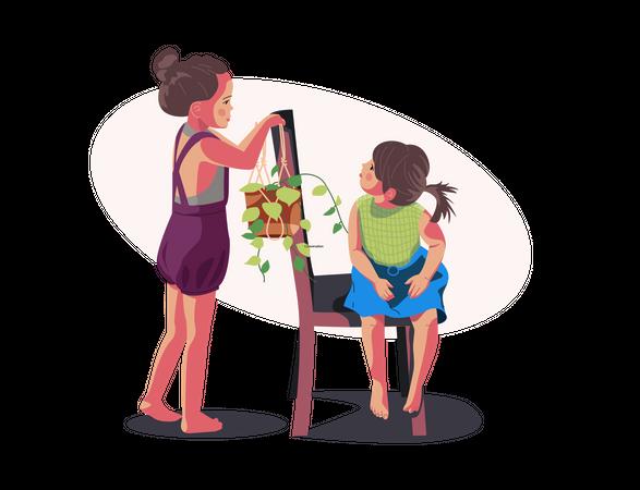 Children take care of plants Illustration