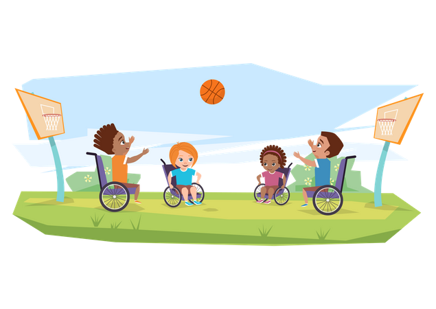 Children with disabilities playing basketball Illustration