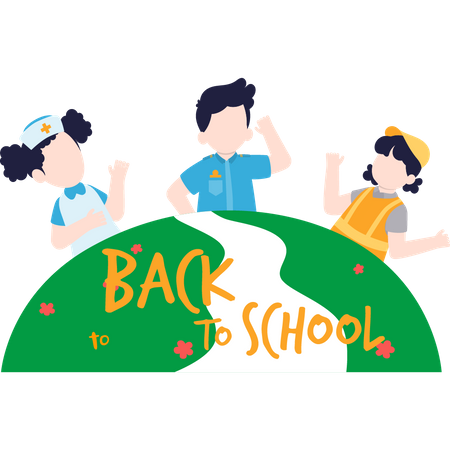 Children's are happy for going back to school Illustration