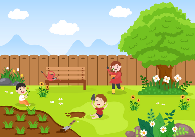 Children's farming Illustration