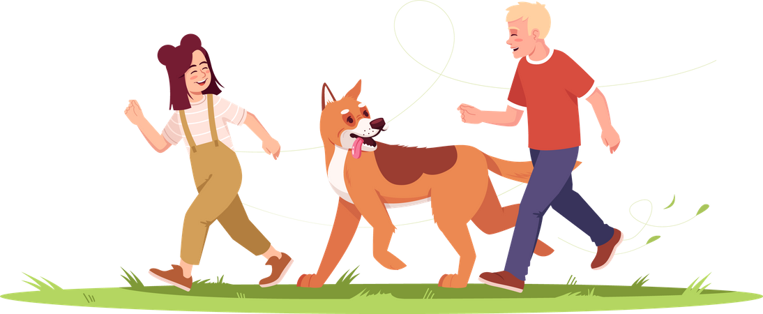 Childrens Running With Dog Illustration