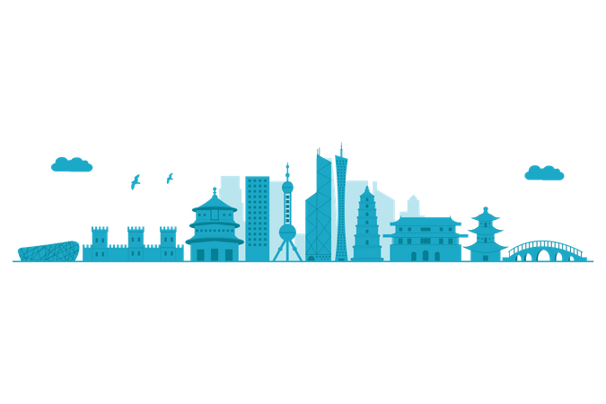 China Skyline in blue silhouette Illustration