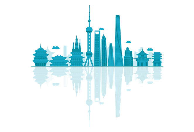 China Skyline silhouette with reflections Illustration
