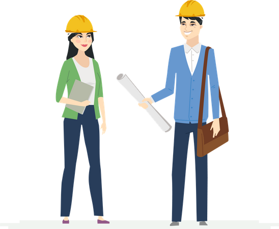 Chinese Construction Workers Illustration