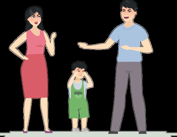 Chinese family arguing Illustration