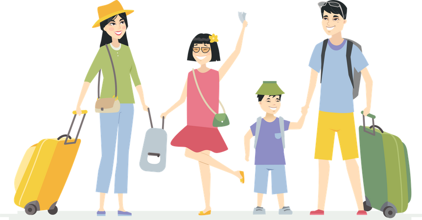 Chinese family going on holiday Illustration
