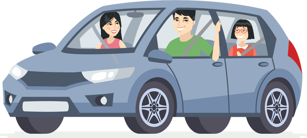 Chinese family in the car Illustration