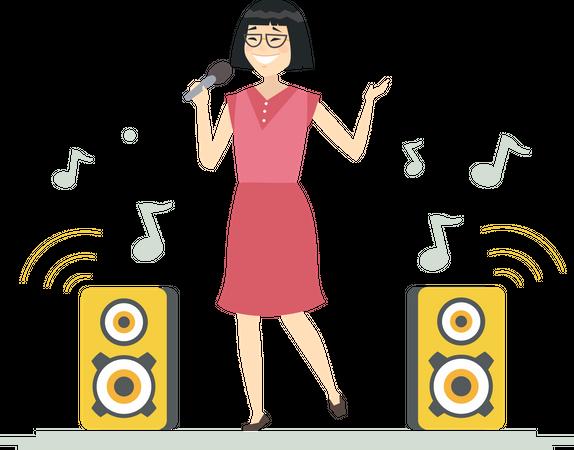 Chinese girl singing Illustration